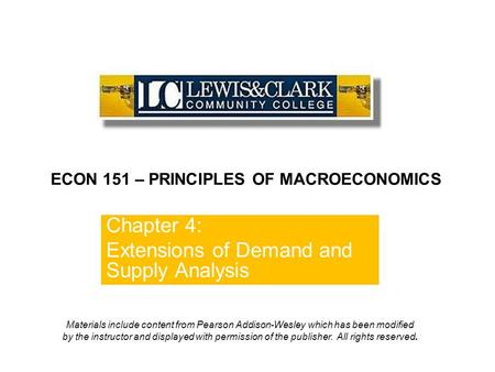 Chapter 4: Extensions of Demand and Supply Analysis