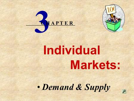Individual Markets: Demand & Supply 3 C H A P T E R.