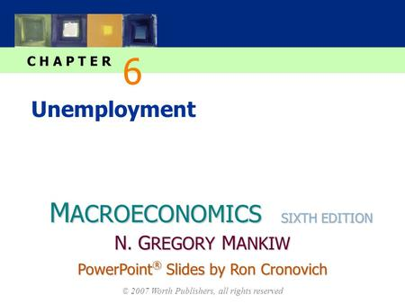 M ACROECONOMICS C H A P T E R © 2007 Worth Publishers, all rights reserved SIXTH EDITION PowerPoint ® Slides by Ron Cronovich N. G REGORY M ANKIW Unemployment.