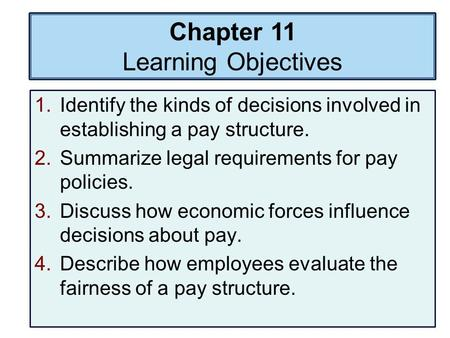 Chapter 11 Learning Objectives 1.Identify the kinds of decisions involved in establishing a pay structure. 2.Summarize legal requirements for pay policies.