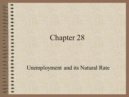 Chapter 28 Unemployment and its Natural Rate. A Roadmap for Chapter 28 1.Background 2.Long Run vs. Short Run Unemployment 3.Unemployment - Generally Speaking.