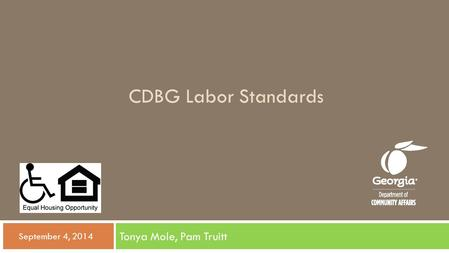 CDBG Labor Standards Tonya Mole, Pam Truitt  September 4, 2014.