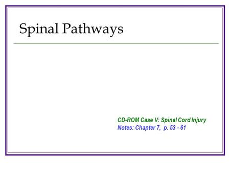 Spinal Pathways CD-ROM Case V: Spinal Cord Injury Notes: Chapter 7, p. 53 - 61.