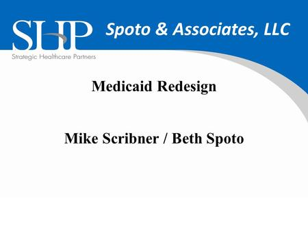 Spoto & Associates, LLC Medicaid Redesign Mike Scribner / Beth Spoto.
