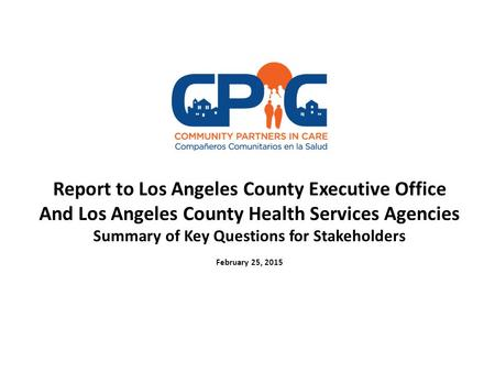Report to Los Angeles County Executive Office And Los Angeles County Health Services Agencies Summary of Key Questions for Stakeholders February 25, 2015.