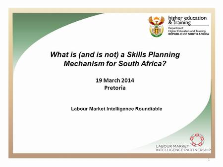 1 What is (and is not) a Skills Planning Mechanism for South Africa? 19 March 2014 Pretoria Labour Market Intelligence Roundtable.