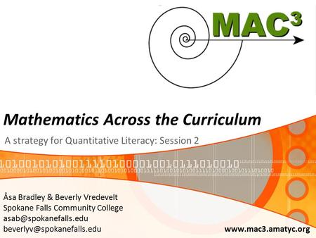 Mathematics Across the Curriculum A strategy for Quantitative Literacy: Session 2 Åsa Bradley & Beverly Vredevelt Spokane Falls Community College