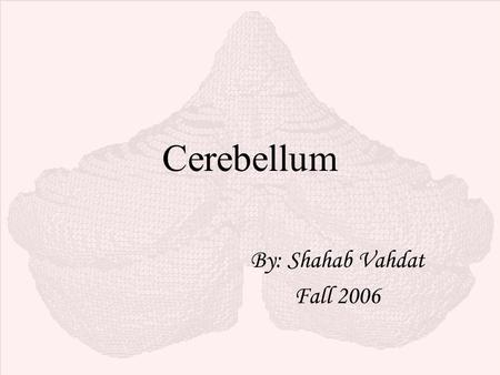 Cerebellum By: Shahab Vahdat Fall 2006. General View  Cerebellum (Latin, little brain): only 10 % total volume of the brain but more than half of all.