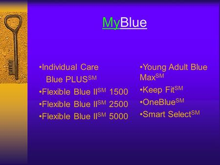 MyBlue Individual Care Blue PLUS SM Flexible Blue II SM 1500 Flexible Blue II SM 2500 Flexible Blue II SM 5000 Young Adult Blue Max SM Keep Fit SM OneBlue.