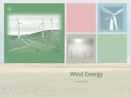 + Wind Energy Caitlin Reidy. + How WIND TURBINES Work Similar to a hydroelectric generator Wind current spins rotor of a turbine Rotor drives shaft of.