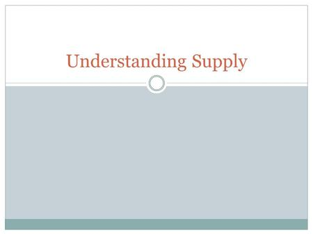 Understanding Supply. Outcome: Describe the behavior of sellers in a competitive market.