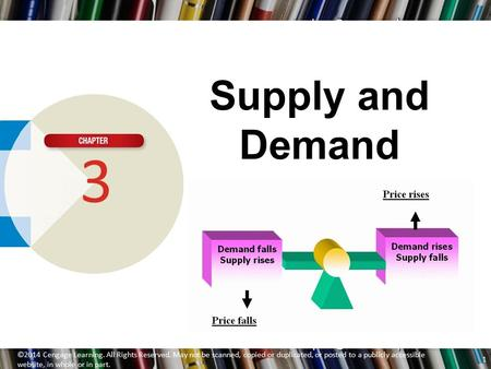 Supply and Demand 3 ©2014 Cengage Learning. All Rights Reserved. May not be scanned, copied or duplicated, or posted to a publicly accessible website,
