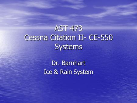AST 473 Cessna Citation II- CE-550 Systems