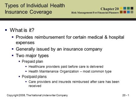 20 - 1Copyright 2008, The National Underwriter Company Types of Individual Health Insurance Coverage  What is it?  Provides reimbursement for certain.