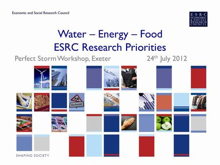 Water – Energy – Food ESRC Research Priorities Perfect Storm Workshop, Exeter 24 th July 2012.
