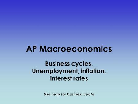 AP Macroeconomics Business cycles, Unemployment, inflation, interest rates Use map for business cycle.