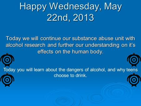 Happy Wednesday, May 22nd, 2013 Today we will continue our substance abuse unit with alcohol research and further our understanding on it's effects on.
