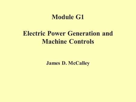 Module G1 Electric Power Generation and Machine Controls