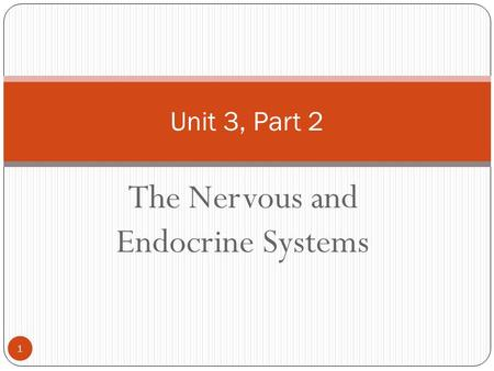 The Nervous and Endocrine Systems Unit 3, Part 2 1.