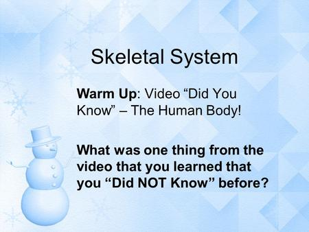 "Skeletal System Warm Up: Video ""Did You Know"" – The Human Body!"