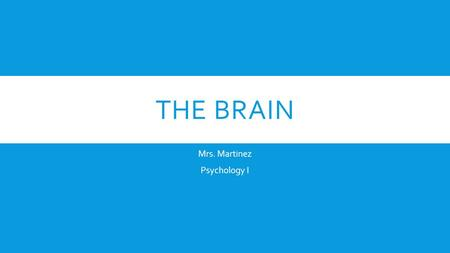 THE BRAIN Mrs. Martinez Psychology I. CENTRAL NERVOUS SYSTEM A.Brain B.Spinal Cord a.Spinal Reflexes- simple automatic responses to something.