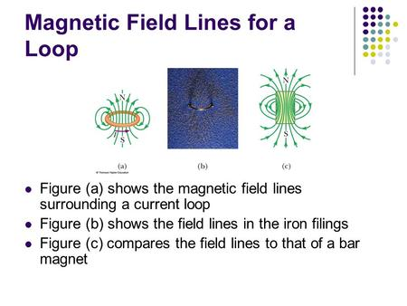 Magnetic Field Lines for a Loop Figure (a) shows the magnetic field lines surrounding a current loop Figure (b) shows the field lines in the iron filings.