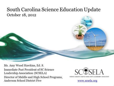 South Carolina Science Education Update October 18, 2012 Ms. Amy Wood Hawkins, Ed. S. Immediate Past President of SC Science Leadership Association (SCSELA)