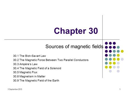 Chapter 30 Sources of magnetic fields 30.1 The Biot–Savart Law 30.2 The Magnetic Force Between Two Parallel Conductors 30.3 Ampère's Law 30.4 The Magnetic.