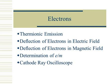 Electrons Thermionic Emission