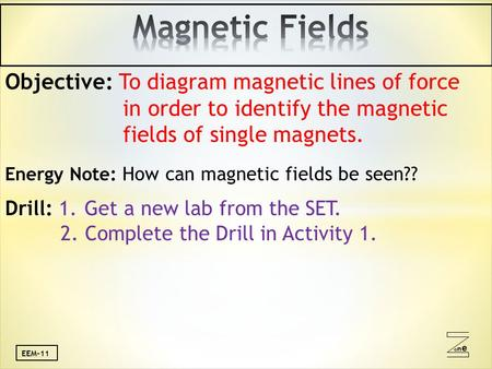 Oneone EEM-11 Objective: To diagram magnetic lines of force in order to identify the magnetic fields of single magnets. Energy Note: How can magnetic fields.