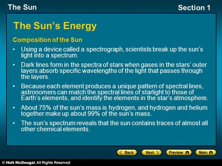 The Sun's Energy Composition of the Sun