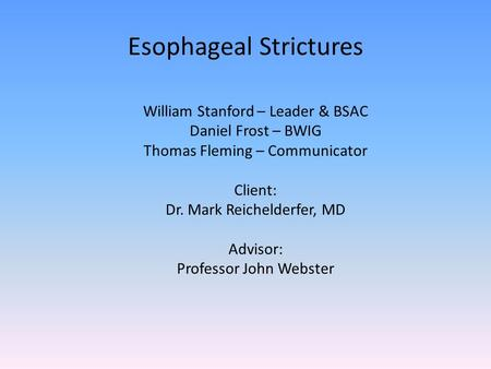 Esophageal Strictures William Stanford – Leader & BSAC Daniel Frost – BWIG Thomas Fleming – Communicator Client: Dr. Mark Reichelderfer, MD Advisor: Professor.