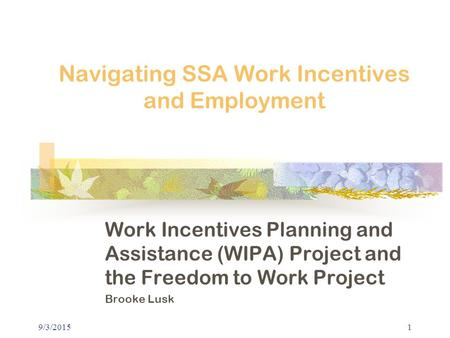 9/3/20151 Navigating SSA Work Incentives and Employment Work Incentives Planning and Assistance (WIPA) Project and the Freedom to Work Project Brooke Lusk.