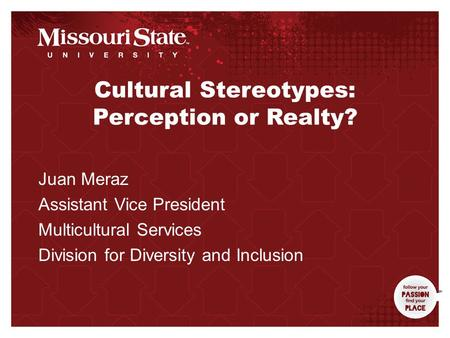 3/31/20100Office/Department|| Cultural Stereotypes: Perception or Realty? Juan Meraz Assistant Vice President Multicultural Services Division for Diversity.