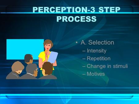 PERCEPTION-3 STEP PROCESS A. Selection –Intensity –Repetition –Change in stimuli –Motives.