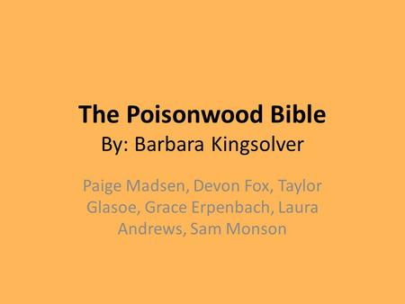antithesis in the poisonwood bible