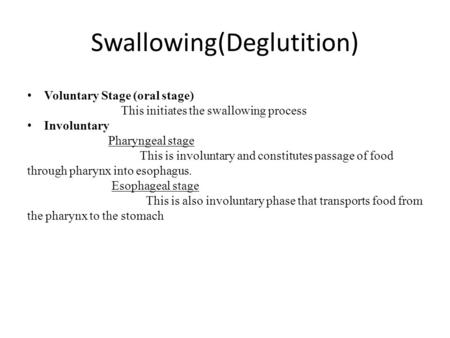 Swallowing(Deglutition)