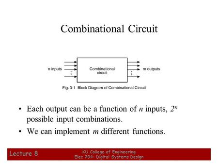 1 KU College of Engineering Elec 204: Digital Systems Design Lecture 8 Combinational Circuit Each output can be a function of n inputs, 2 n possible input.