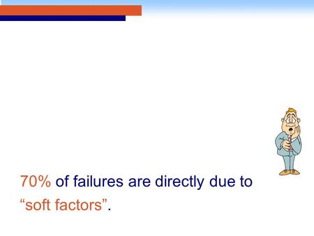 "70% of failures are directly due to ""soft factors""."