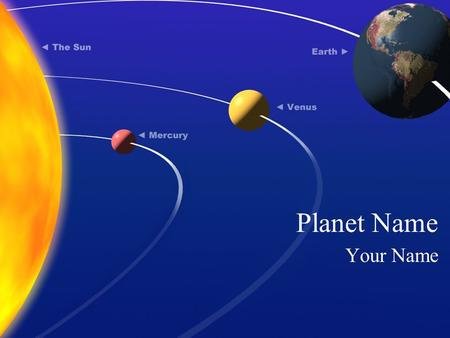 Planet Name Your Name. Place in the Solar System The planet ________, is the ________ planet from the Sun, located on average __________ million miles.