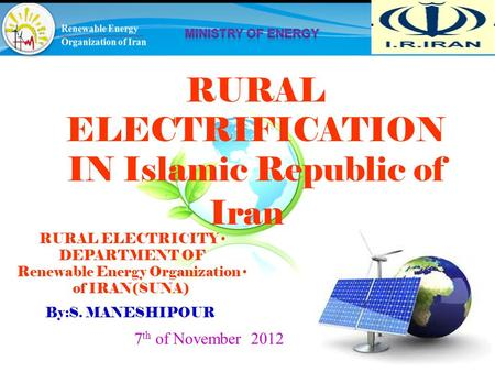 RURAL ELECTRIFICATION IN Islamic Republic of Iran