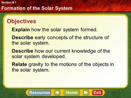 Objectives Explain how the solar system formed. Describe early concepts of the structure of the solar system. Describe how our current knowledge of the.