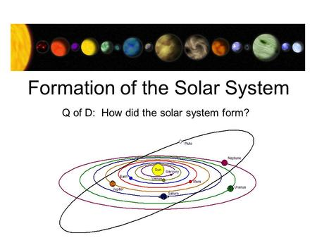 Formation of the Solar System Q of D: How did the solar system form?