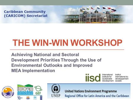 THE WIN-WIN WORKSHOP Achieving National and Sectoral Development Priorities Through the Use of Environmental Outlooks and Improved MEA Implementation.