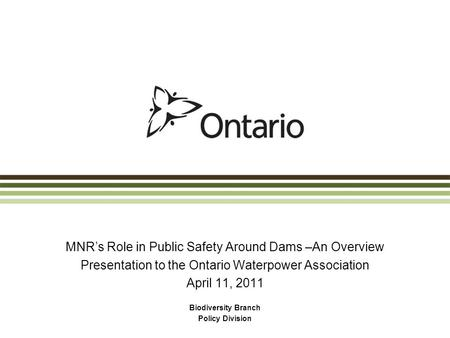 MNR's Role in Public Safety Around Dams –An Overview Presentation to the Ontario Waterpower Association April 11, 2011 Biodiversity Branch Policy Division.