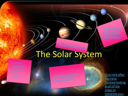 The Solar System What do you know about the planets?