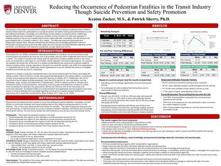 Reducing the Occurrence of Pedestrian Fatalities in the Transit Industry Though Suicide Prevention and Safety Promotion Keaton Zucker, M.S., & Patrick.