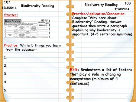 108 Biodiversity Reading 107 12/3/2014 Starter: Biodiversity Reading Exit: Brainstorm a list of factors that play a role in changing ecosystems (minimum.