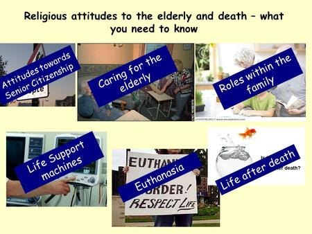 Religious attitudes to the elderly and death – what you need to know Attitudes towards Senior Citizenship Caring for the elderly Roles within the family.