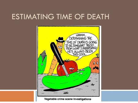ESTIMATING TIME OF DEATH. So…  Suspects can be eliminated and focus can be put on others  What can be used?  Witness statements  Body temperature.